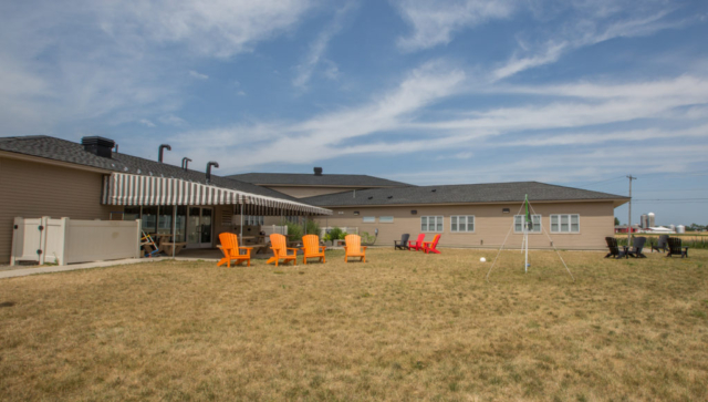 Freedom Village Volleyball and Outdoor Sitting Area